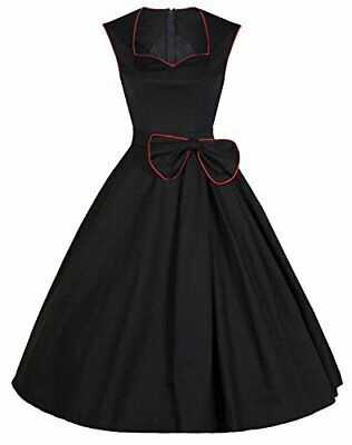 YACUN Women's Vintage Black 1920s Rockabilly Swing Cocktail Party Dress All Size