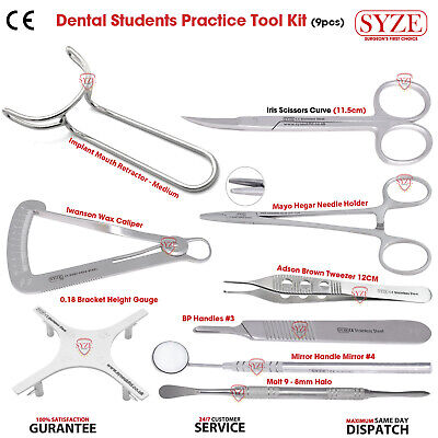 Dental Students Lab Tools Kit Retractor Caliper Guage Scissors and Tweezers SYZE