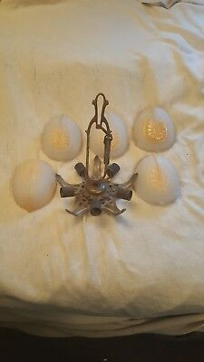 Antique Vintage Art Deco Slip Shade Chandelier (Frame and 5 slip shades)