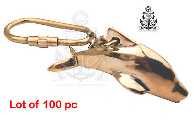 LOT OF 100Pc VINTAGE SOLID BRASS DOLPHIN FISH KEYCHAIN NAUTICAL COLLECTIBLE GIFT