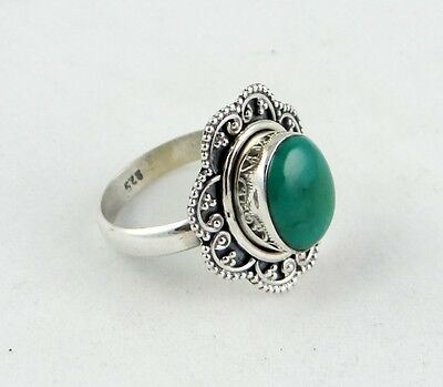 925 Solid Sterling Silver WOW!! Green Onyx Wonderfull Jewellery Ring