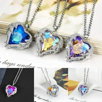 Angel Wings Long Necklace Heart Rhinestone Crystal Pendant Jewelry Style Casual
