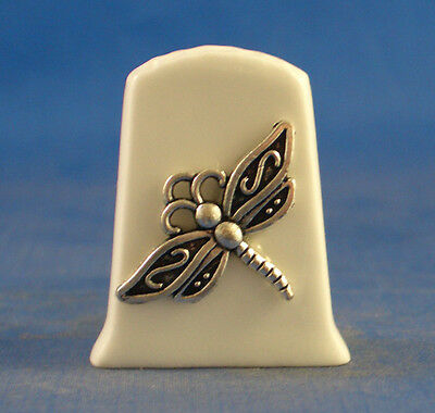 Birchcroft China Thimble ---- Antique Silver Dragonfly with Free Gift Box