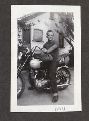 Vtg 1940s Pre-Unit Triumph Tiger 100 Custom Motorcycle Photo Flanders Risers