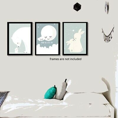Set of 3 Dream Big Goodnight Moon Shh Kids Baby Nursery Wall Art Prints Decor