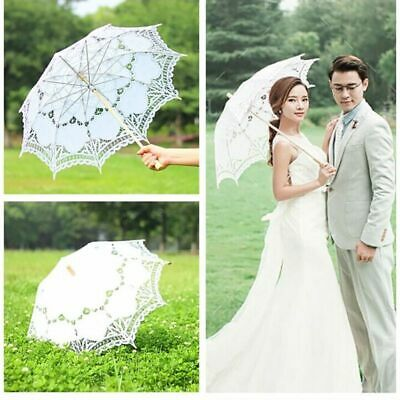 Women Retro Cotton Parasol Lace Floral Umbrella Wedding Bridal Party Decor UK