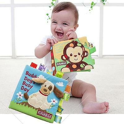 Animal Puppy Monkey Story Book Baby Early Education Soft Cloth Book Toys LI