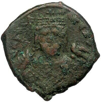 Byzantine Brozne Coin Follis Justin And Sophia Year Viii Nikomedia Mint Ae28
