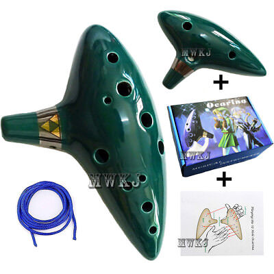GREEN 12 HOLE Ocarina of Time Zelda Ceramic Alto C Flute Musical Instrument  Gift