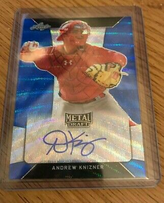 Andrew Knizner 2018 Leaf Metal Draft Baseball Blue Wave Auto 07/20