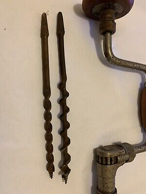 Vintage Brace Crank Ratcheting Hand Drill Antique Tool Made In England