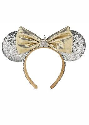 Disney Parks Cinderella Castle Silver Sequin Minnie Ears Headband Gold Bow (NEW)