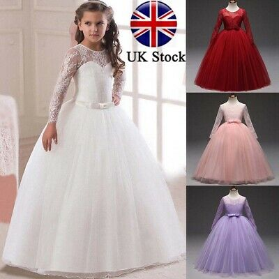 Children Kids Girl Lace Long Sleeve Wedding Bridesmaid Princess Maxi Party Dress