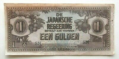1942 Japanese Occupation Wwii Netherlands East Indies 1, One Gulden Note - Rare