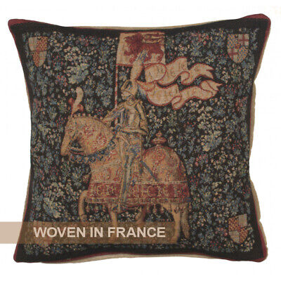 French Tapestry Throw Pillow Cover Woven Knight Medieval Jean de Daillon 19x19""