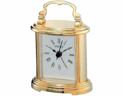Seiko QHE109G Brass Vintage Desk Mantle Antique Carriage Clock with Beep Alarm