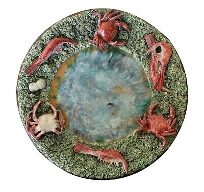 Antique Bordallo Pinheiro, Portuguese Palissy Ware Large Wall Plate, Earthenware
