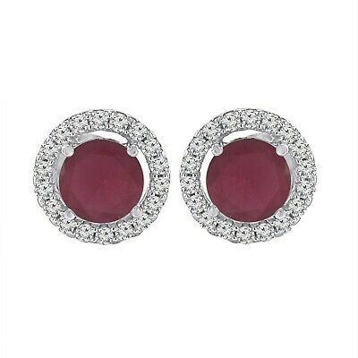 3.70 Ct Round Cut Ruby & Diamond Halo Stud Earrings 14K White Gold Over