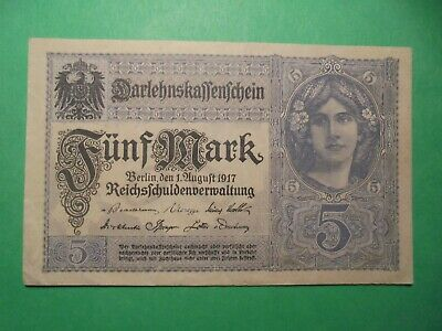 Ww1 5 Mark German Banknote (1917) In Very Good Condition Almost Unc .
