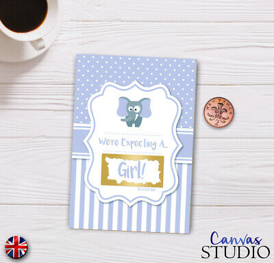 Personalised Gender Reveal Scratch Off Card Baby Shower Birth Family Surprise