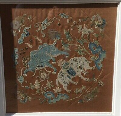FINE Antique Early Chinese Republic Forbidden Knot Silk Embroidery Badge / Panel