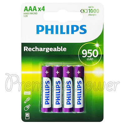 4 x Philips Rechargeable AAA 950 mAh batteries NiMh 1.2V HR03 Micro Pack of 4