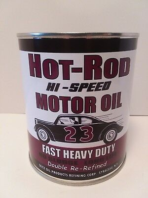 Vintage HOT ROD Motor Oil Can 1 qt. -(Reproduction Tin Collectible)