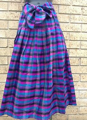 DAISY BLUE Vintage 80's Skirt 100% Pure Silk Purple Blue Gathered Flared Skirt