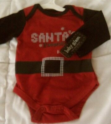 """NEW Baby Glam Size 3 Mo Holiday Christmas /""""Santa/'s Favorite /""""Red One piece NWT"""