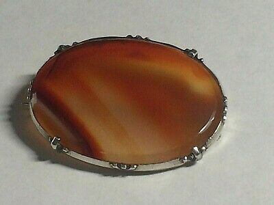 Antique 925,solid Silver Victorian Scottish Agate  Brooch/pin. 9.65,grams,