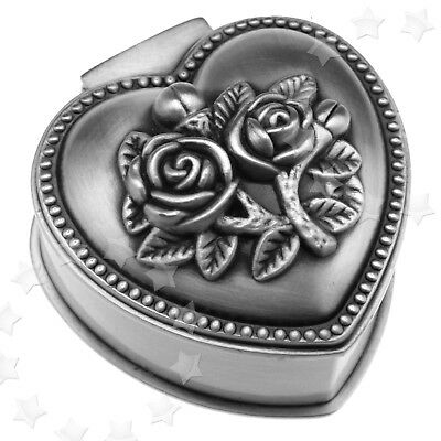Small Heart Shape Rose Antique Style Jewellery Ring Earrings Trinket Storage Box