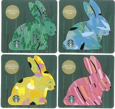 4 Gift Cards: Starbucks (Canada) 2019 Easter Bunnies, small die-cut cards, $0