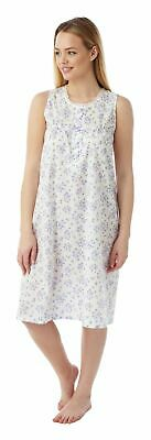 Ladies Sleeveless Cotton/Poly Floral Nightdress By Marlon 10-30 Style Mn16