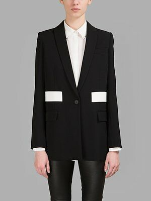 GIVENCHY 2790$ Authentic New Black Wool Jacket With White Stripes sz 38