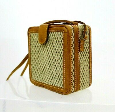 Vtg 70s Woven Leather Box Top Handle Blogger Cross Body Messenger Shoulder Bag
