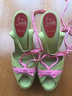 77ed594b521a CHRISTIAN LOUBOUTIN WEDGE ESPADRILLES GREEN   PINK RIBBON SHOES Size ...