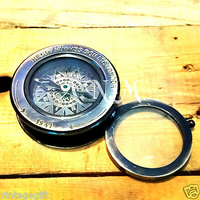 Antique Brass Compass Nautical Flip Out Magnifying Glass Vintage Magnifier