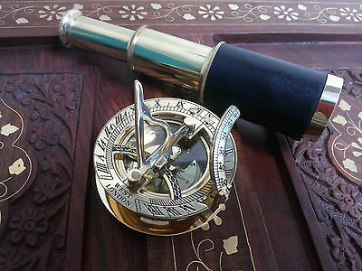 Antique Brass Telescope Leather Grip Brass Sundial Compass Maritime Decorative
