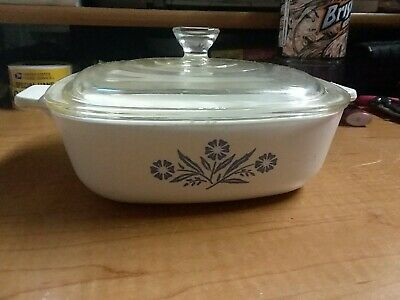 Corning Ware Blue Cornflower with Lid  - Baking Casserole Dish Nice! 1 Qt  P1B