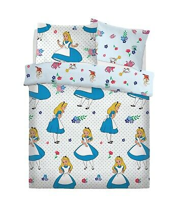 DISNEY ALICE IN WONDERLAND FALLING Polycotton Reversible Duvet Cover Set