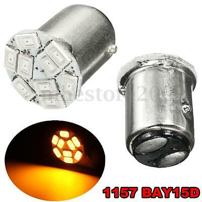 2x Amber 12V Car 1157 BAY15D 9 5730 LED SMD Reverse Turn Signal Light Bulb  /