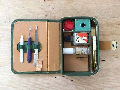 Rare Vintage Cutex Leather Travelling Manicure Beauty Case Kit Collectable 1930s