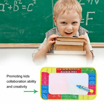 Kids Write Draw Paint Water Canvas Magic Doodle Mat With Pen Brushes 29*19cm AZ