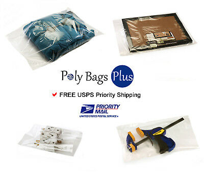 """500 6x14"""" Clear Poly Bags Packaging 1 Mil Open Top Plastic Baggies Lay Flat"""