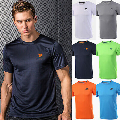 Mens Breathable T Shirt Wicking Cool Running Gym Top Sports Football Training M