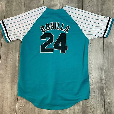 c142fd36d RARE Vintage Bobby Bonilla  24 Florida Marlins MLB Pinstriped Jersey Youth  XL
