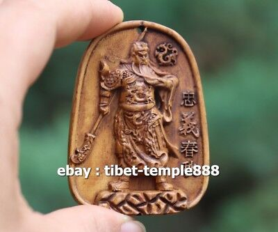 7 CM Chinese Boxwood Handwork Guan Gong Guanyu soldier warrior Buddha Pendants