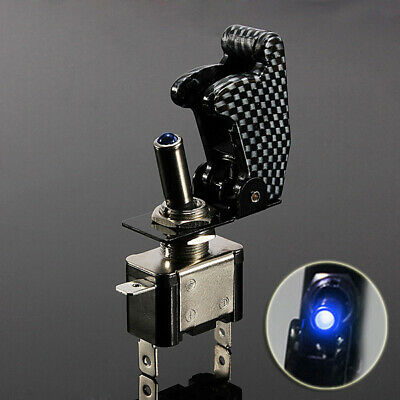 Carbon Fiber Cover Car Truck Blue LED Rocker Toggle Switch On/OF SPST Control /