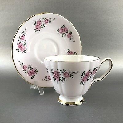 Colclough Pink Roses Tea Cup & Saucer English Bone China Gold Teacup England