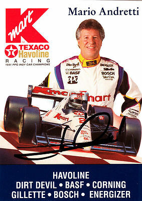 Mario Andretti Formula One Champ Time SIGNED CARD AUTOGRAPHED